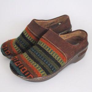 Born 6.5 Kilim Wool Stripe Slip on Clogs Aztec